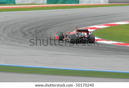 SEPANG, MALAYSIA - APRIL 2 : Virgin Racing driver Lucas di Grassi of Brazil drives during Petronas Malaysian Grand Prix second practice session at Sepang F1 circuit April 2, 2010 in Sepang