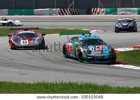 SEPANG, MALAYSIA - DECEMBER 5: A participant's in action at the Sepang International Circuit during the MHH Super Series Round 5 on December 5, 2009 in Sepang, Malaysia - stock photo
