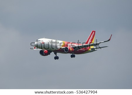 SEPANG, MALAYSIA - DECEMBER 14, 2016: VietJet Air plane Airbus A320-214, Registration name VN-A658, arrive at KLIA airport on December 14, 2016 in KLIA, Sepang, Malaysia.