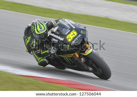 SEPANG, MALAYSIA-FEB 7: Great Britain No. 35 Cal Crutchlow of Monster Yamaha Tech3 at MotoGP Official Test Sepang 1 on Feb 7, 2013 in Sepang, Malaysia. Season 2013 will start in Qatar on April 7. - stock photo