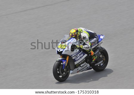 SEPANG, MALAYSIA-FEB 5, 2014: Italian nine Grand Prix World Championships of Italy No. 46 Valentino Rossi of Yamaha Factory Racing at MotoGP Official Test Sepang 1 in Sepang, Malaysia. - stock photo