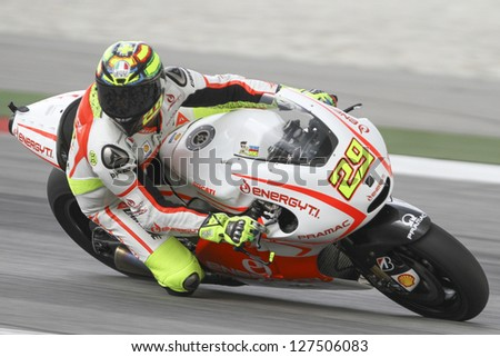 SEPANG, MALAYSIA-FEB 7: Italy No. 29 Andrea Iannone of Energy T.I. Pramac Racing Team at MotoGP Official Test Sepang 1 on Feb 7, 2013 in Sepang, Malaysia. Season 2013 will start in Qatar on April 7.