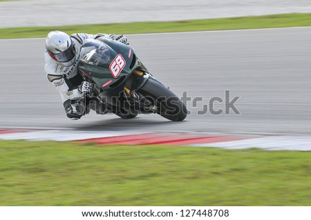SEPANG, MALAYSIA-FEB 7: No. 68 Yonny Hernandez of Paul Bird Motorsport at MotoGP Official Test Sepang 1 on Feb 7, 2013 in Sepang, Malaysia. Season 2013 will start in Qatar on April 7. - stock photo