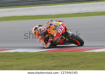 SEPANG, MALAYSIA-FEB 7: Spain No. 93 Marc Marquez of Repsol Honda Team at MotoGP Official Test Sepang 1 on Feb 7, 2013 in Sepang, Malaysia. Season 2013 will start in Qatar on April 7. - stock photo