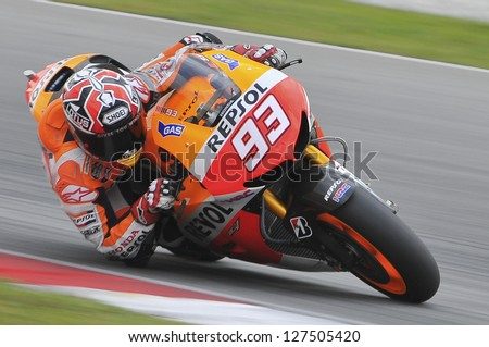 SEPANG, MALAYSIA-FEB 7: Spain No. 93 Marc Marquez of Repsol Honda Team at MotoGP Official Test Sepang 1 on Feb 7, 2013 in Sepang, Malaysia. Season 2013 will start in Qatar on April 7.