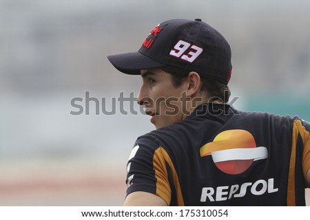 SEPANG, MALAYSIA-FEB 6, 2014: Spanish Grand Prix motorcycle road racer and current MotoGP world champion Spain No. 93 Marc Marquez of Repsol Honda Team at MotoGP Official Test Sepang 1 in Sepang. - stock photo