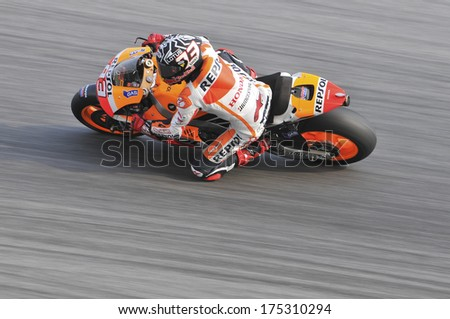 SEPANG, MALAYSIA-FEB 5, 2014: Spanish Grand Prix motorcycle road racer and current MotoGP world champion Spain No. 93 Marc Marquez of Repsol Honda Team at MotoGP Official Test Sepang 1 in Sepang. - stock photo