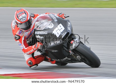 SEPANG,MALAYSIA-MARCH 1:American Nicky Hayden of Ducati Team at 2012 MotoGP Official Winter Test Sepang 2 on Mar. 1, 2012 in Sepang, Malaysia.The 2012 MotoGP season starts on April 8 in Qatar. - stock photo