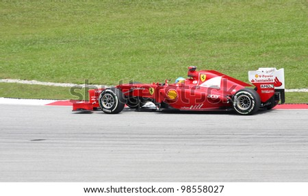 SEPANG, MALAYSIA - MARCH 23: Fernando Alonso of Scuderia Ferrari team in action during PETRONAS Malaysian Grand Prix practice session at Sepang F1 circuit  on 23 March, 2012 in Sepang, Malaysia.