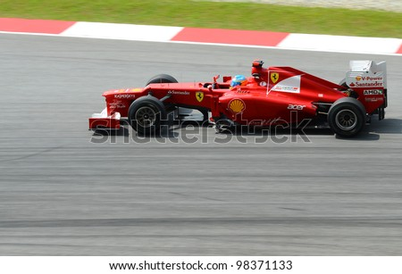 SEPANG, MALAYSIA - MARCH 23 : Ferrari Team driver Felipe Massa in action on track during Petronas Malaysian Grand Prix second practice session at Sepang F1 circuit on March 23, 2012 in Sepang, Malaysia.