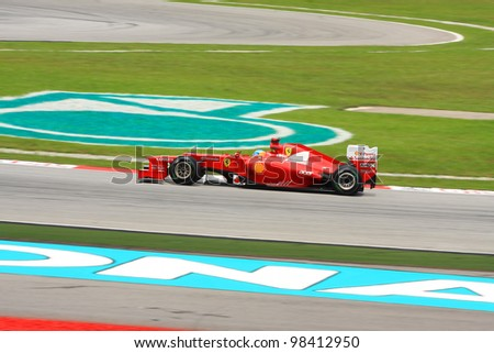 SEPANG, MALAYSIA - MARCH 24: Ferrari Team driver Fernando Alonso action on track during Petronas Malaysian Grand Prix qualifying session at Sepang F1 circuit on March 24, 2012 in Sepang, Malaysia
