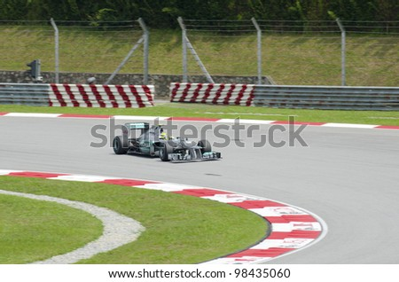 SEPANG, MALAYSIA-MARCH 23 :Formula One driver Nico Rosberg of Mercedes AMG Petronas Team races during the first practice session on March 23, 2012 in Sepang International Circuit in Sepang, Malaysia.