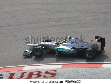 SEPANG, MALAYSIA - MARCH 23: German Nico Rosberg of Mercedes in action during Friday practice at Petronas Formula 1 Grand Prix on March 23, 2012 in Sepang, Malaysia