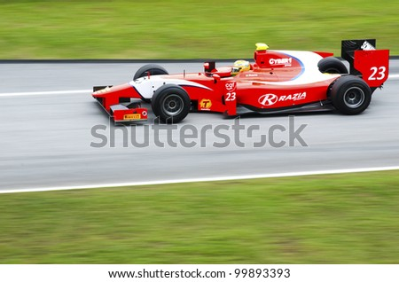 SEPANG, MALAYSIA-MARCH 23 : GP 2 series driver Luiz Razia  of Arden International team races during the first practice session on March 23, 2012 at Sepang International Circuit in Sepang, Malaysia.