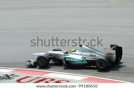 SEPANG, MALAYSIA-MARCH 23: Mercedes Team driver Michael Schumacher action on track during Petronas Malaysian Grand Prix practice session at Sepang F1 circuit on March 23, 2012 in Sepang, Malaysia.