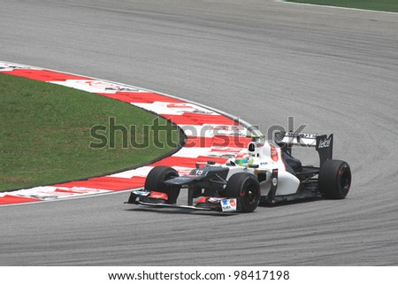 SEPANG, MALAYSIA - March 23: Mexican Sergio Perez of Sauber-Ferrari in action during Friday practice at Petronas Formula 1 Grand Prix on March 23, 2012 in Sepang, Malaysia