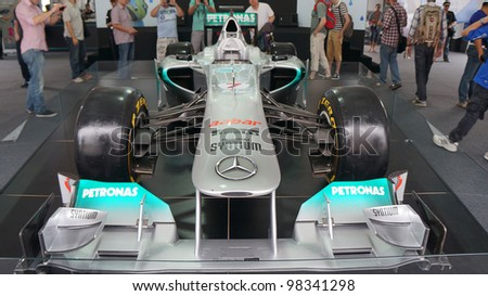 SEPANG, MALAYSIA-MARCH 23 : Petronas Mercedes GP F1 on display during the Malaysian F1 Grand Prix on March 23, 2012 in Sepang International Circuit in Sepang, Malaysia. - stock photo