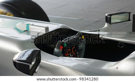 SEPANG, MALAYSIA-MARCH 23 : View of steering of Petronas Mercedes GP F1 during the Malaysian F1 Grand Prix on March 23, 2012 in Sepang International Circuit in Sepang, Malaysia. - stock photo