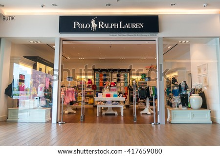 SEPANG, MALAYSIA - MAY 8, 2016: Detail of the entrance to a Polo Ralph Lauren shop. Polo Ralph Lauren designs, markets and sells men's, women's and children's fashion products to customers worldwide.