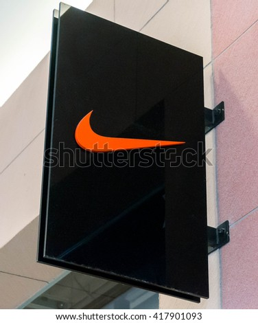 SEPANG, MALAYSIA - MAY 8, 2016: Nike logo. Nike is one of famous sports fashion brands worldwide and it is one of the world's largest suppliers of athletic shoes and apparel.