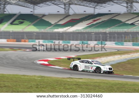 Sepang, Malaysia - September 4, 2015 : British Bentley car no 8 enters turn 2 at Asian Festival of Speed Race, Sepang, Malaysia  - stock photo