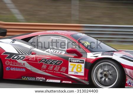 Sepang, Malaysia - September 4, 2015 : Close up of Italian Ferrari Car No 78 at Asian Festival of Speed Race, Sepang, Malaysia  - stock photo