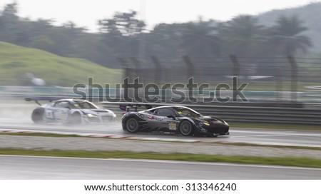 Sepang, Malaysia - September 5, 2015 : Italian Ferrari Car No 95 enters main straight at Asian Festival of Speed Race, Sepang, Malaysia  - stock photo
