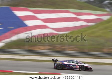 Sepang, Malaysia - September 4, 2015 : Italian Lamborghini car no 86 exits turn 2 at Asian Festival of Speed Race, Sepang, Malaysia  - stock photo