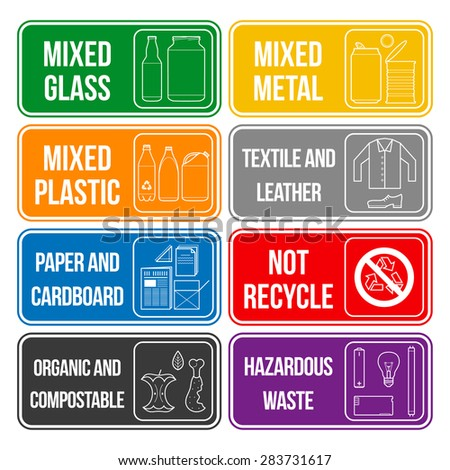 separate collection of waste labels set