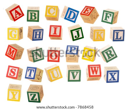 Separated alphabet blocks of all the letters in various orientations, as if they could be falling.