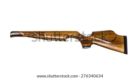 Separately the rifle butt from an air rifle isolated on the white - stock photo