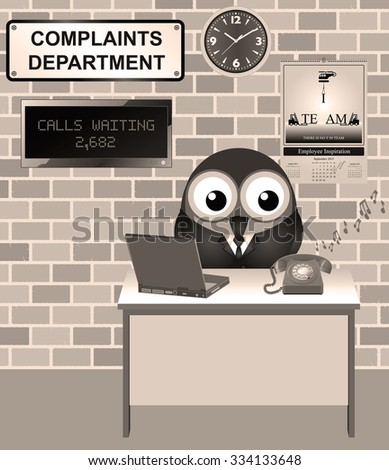 Sepia Comical bird worker in the complaints department fed up listening to people complaining and ignoring incoming customer calls - stock photo