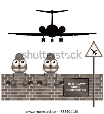 Sepia comical construction workers building new airport runway - stock photo