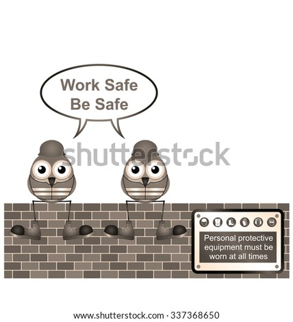 Sepia comical construction workers with work safe message isolated on white background - stock photo