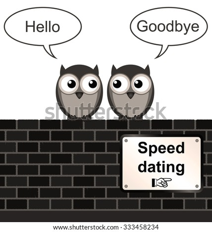 Sepia comical speed dating sign on brick wall isolated on white background