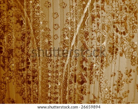 Sepia Floral on Fabric - stock photo