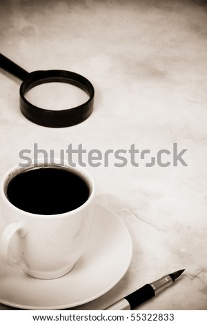 sepia image of coffee at texture - stock photo