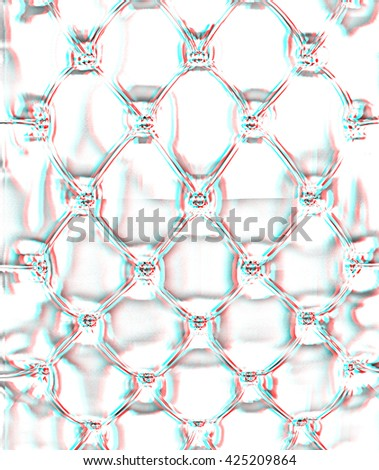 Sepia picture of genuine glossy silver upholstery . Pencil drawing. 3D illustration. Anaglyph. View with red/cyan glasses to see in 3D. - stock photo