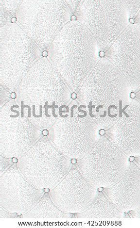 Sepia picture of genuine leather upholstery . Pencil drawing. 3D illustration. Anaglyph. View with red/cyan glasses to see in 3D. - stock photo