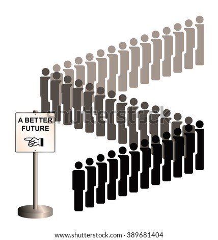Sepia representation of economic migrants and refugee migration with people queuing for a better future isolated on white background - stock photo