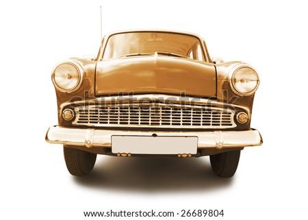 sepia retro car isolated on white background - stock photo