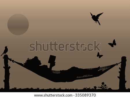 Sepia silhouette woman reading a book relaxing in a Hammock - stock photo