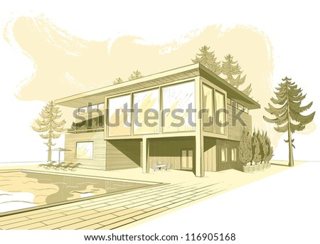 Sepia sketch of modern suburban wooden house with swimming pool and chaise lounges (see eps version in my portfolio) - stock photo