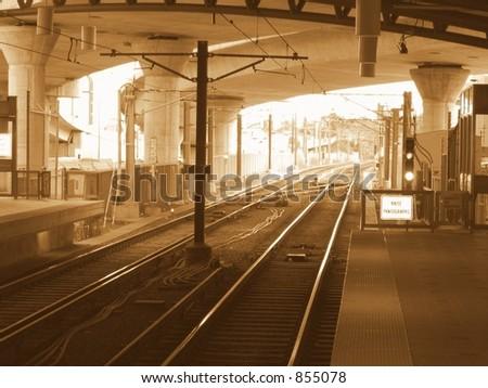 Sepia Subway in Boston - stock photo