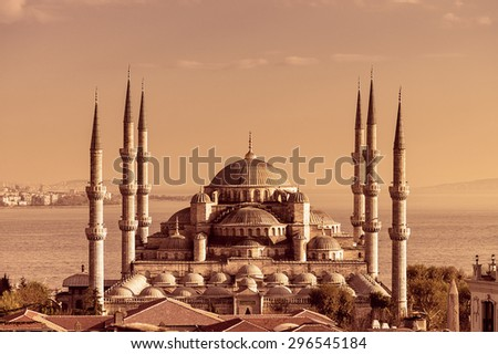 Sepia tone of Sultan Ahmed Mosque (Blue Mosque) , Istanbul, Turkey - stock photo