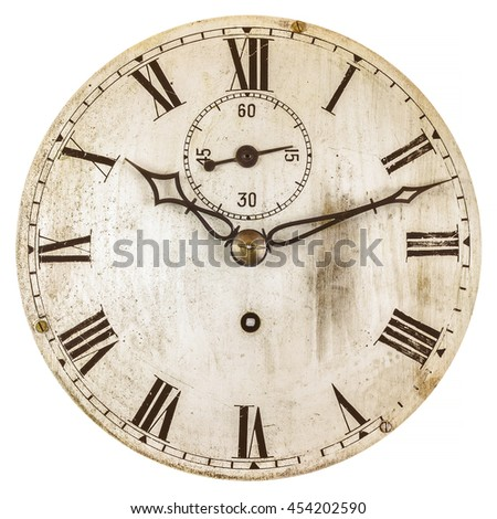 Sepia toned image of an old clock face isolated on a white background - stock photo