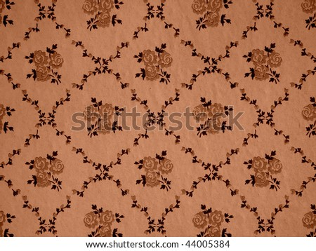 sepia toned old floral grunge wallpaper background - stock photo