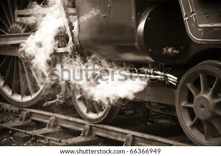 sepia toned vintage steam locomotive detail