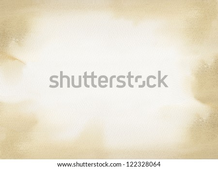 Sepia Watercolor Paint Border - stock photo