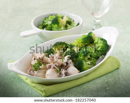 sepia with broccoli heathy food